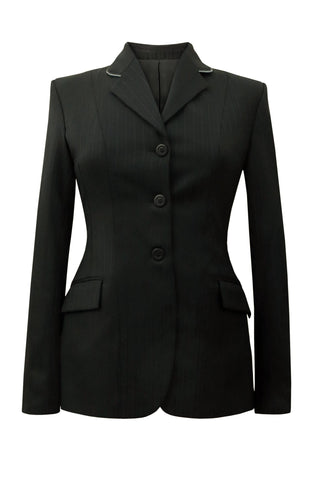 Black variant stripe wool jacket with high sheen with grey piping.