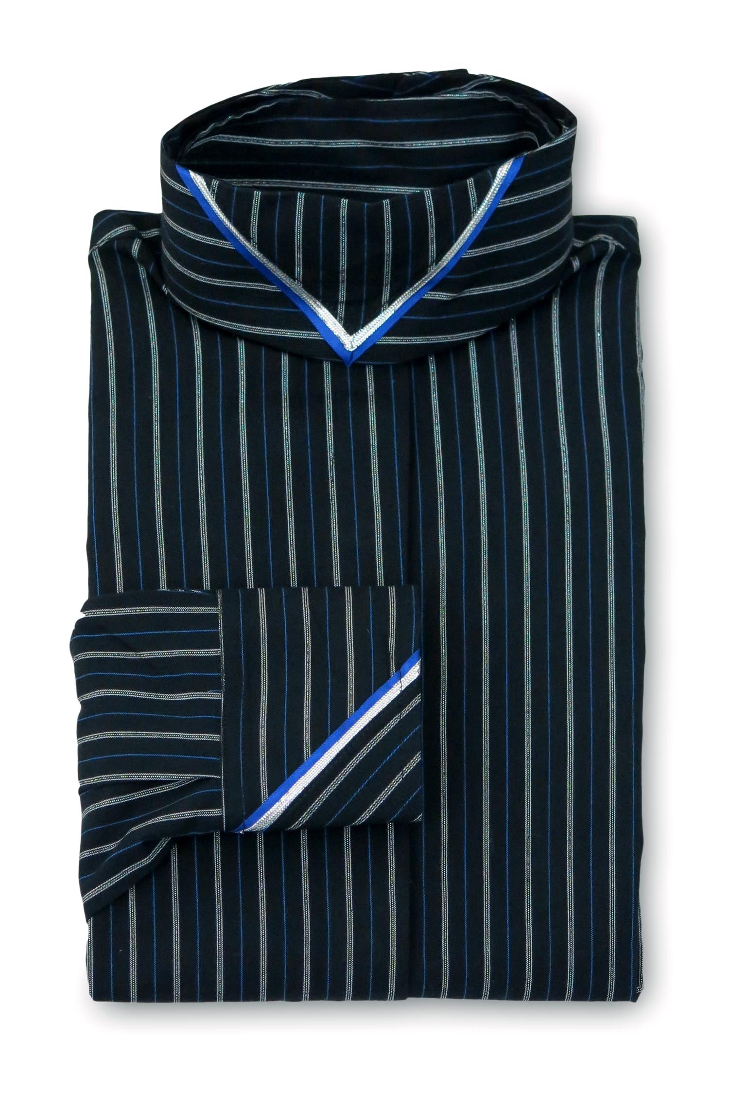 Black Metallic Stripe - Cobalt & Silver