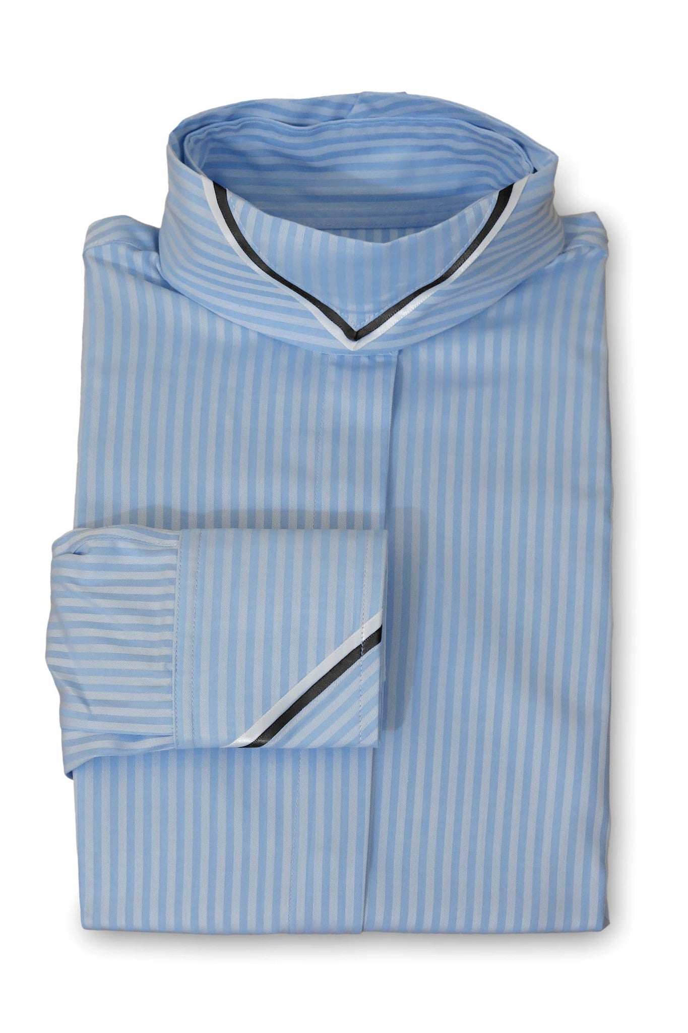 Ice Blue Tonal Stripe - Black & White