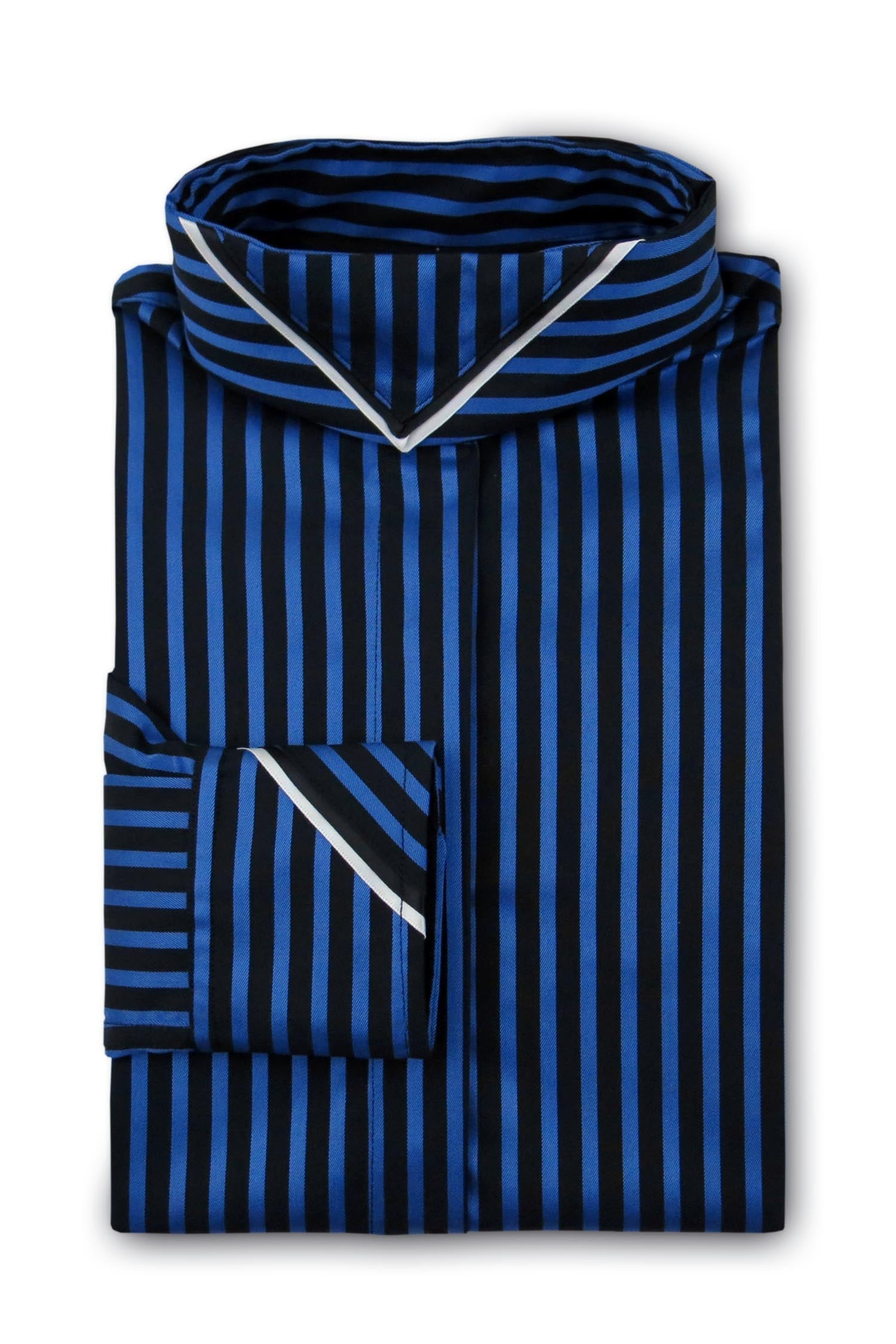 Black and Cobalt Stripe - Black & White