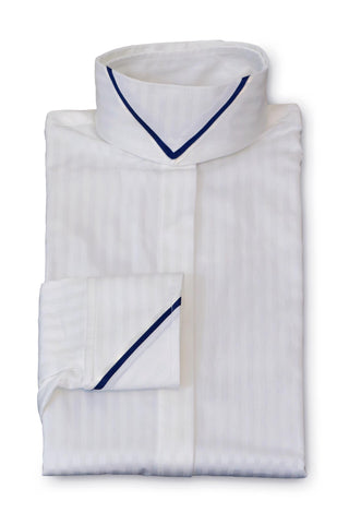 White Tonal Stripe - Navy & White