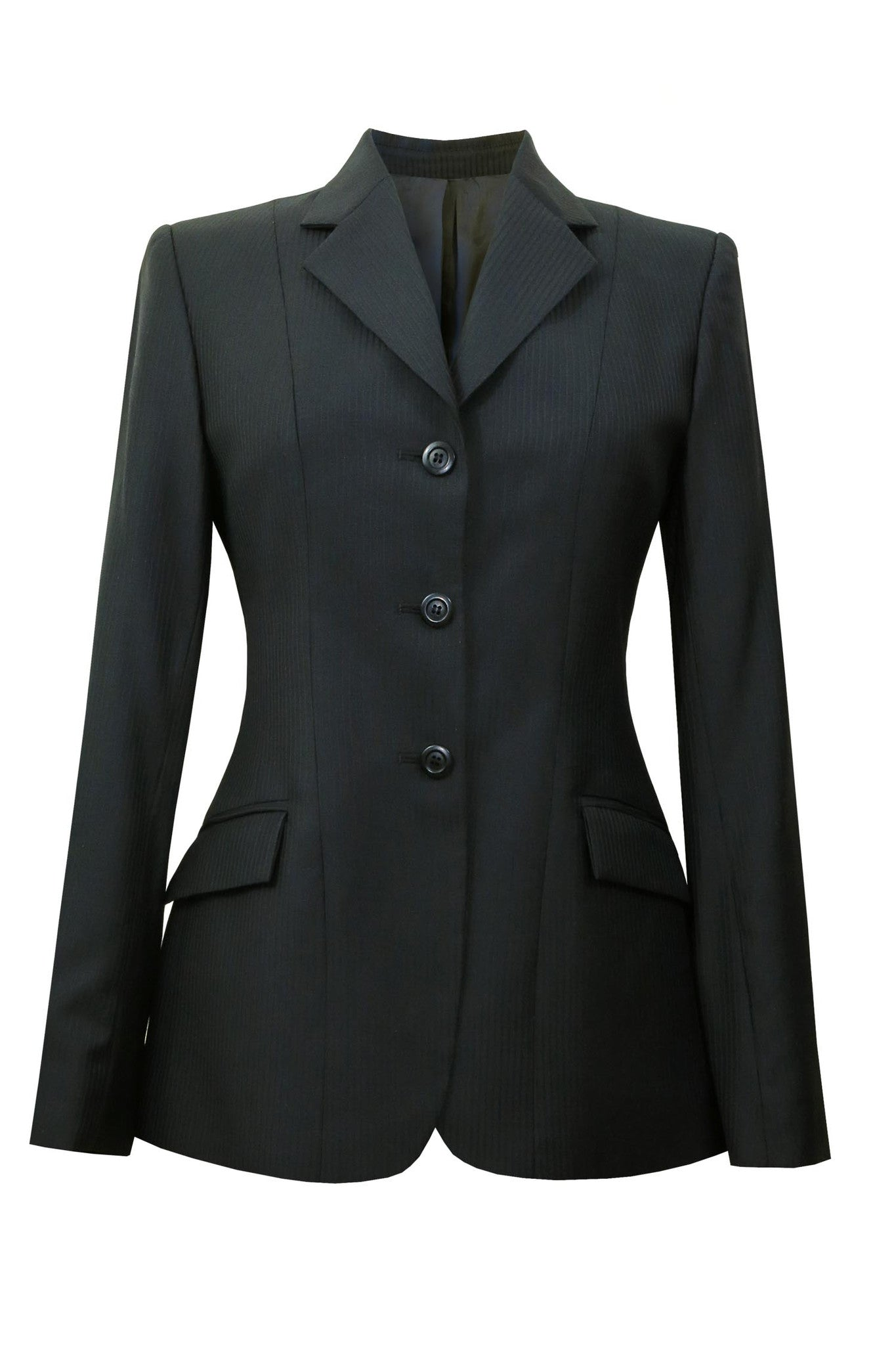 Black wool jacket with thin tonal stripes.