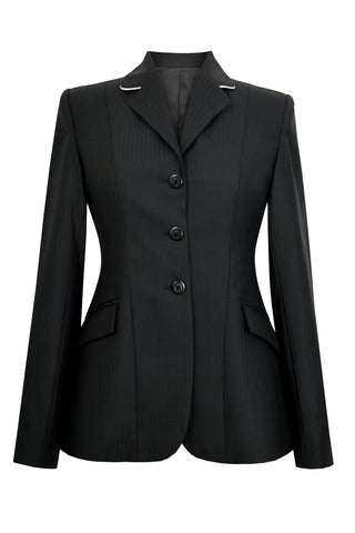 Black wool jacket with thin tonal stripes. White piping on collar.