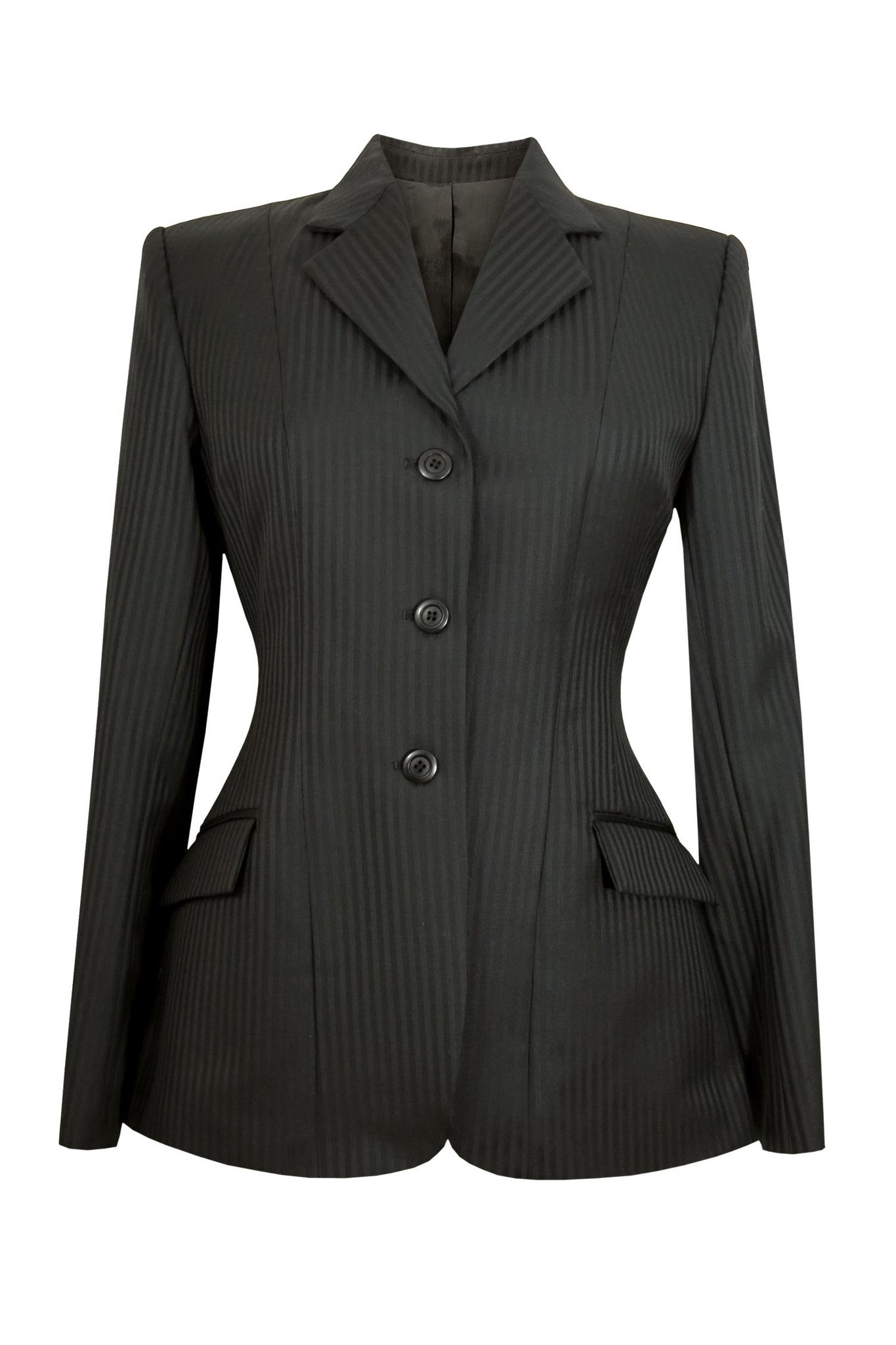 Black wool jacket with thick stripes.