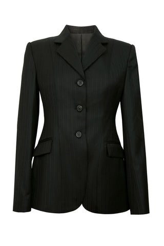 Black variant stripe wool jacket with high sheen.