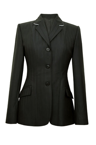 Black wool jacket with wide set stripes and white piping on collar.