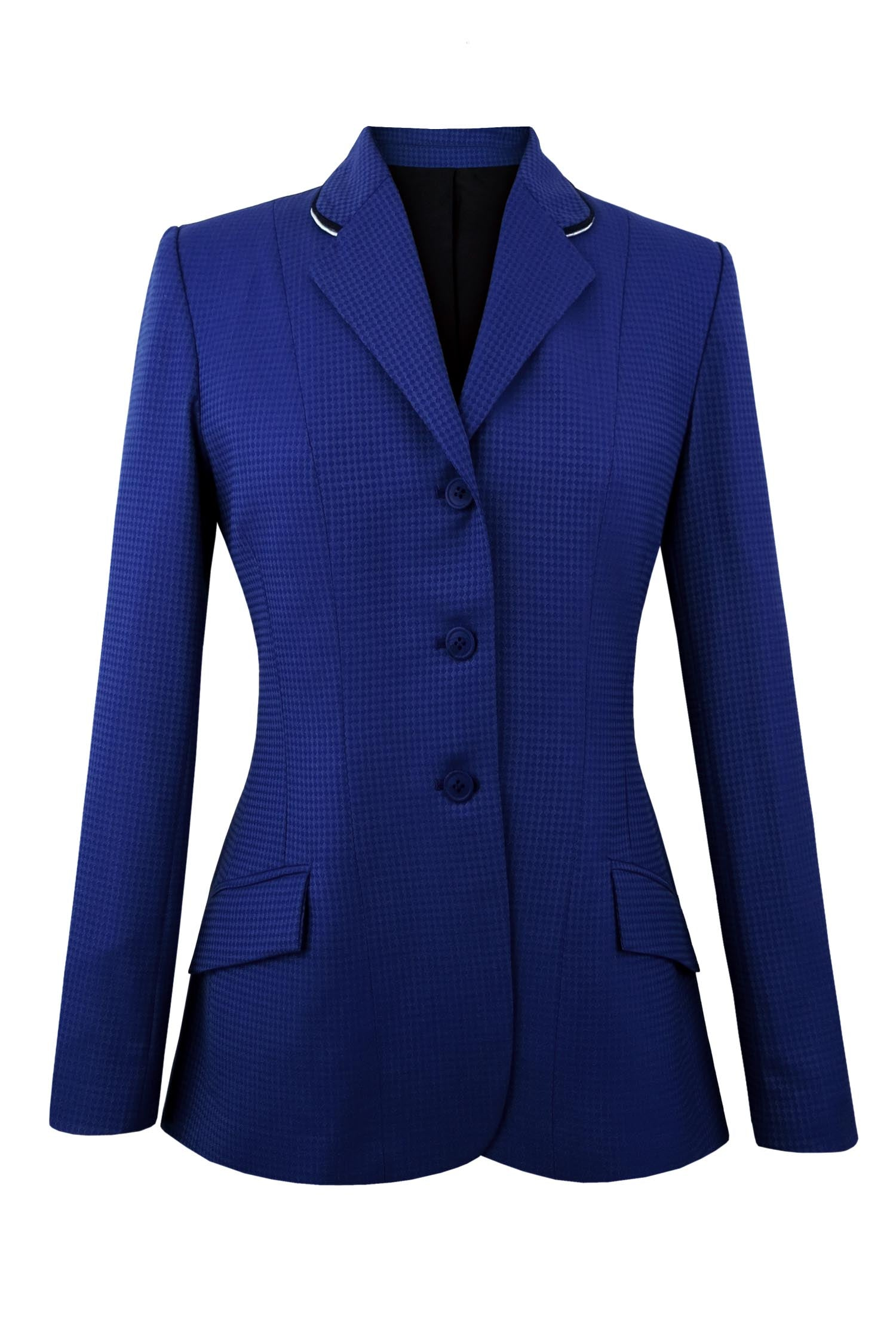 French blue diamond pattern wool riding jacket.  Collar has silver and black piping.