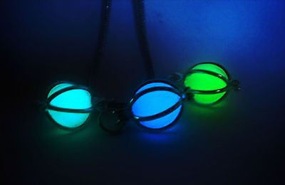 Caged Glow in the Dark Luminous Orb Sphere Stone Necklace Pendant - Final Fantasy Materia - Soul Shards