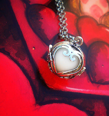 Sterling silver lovers heart glow in the dark luminous locket pendant sterling silver lovers heart glow in the dark luminous locket pendant necklace glowing stone aloadofball Image collections