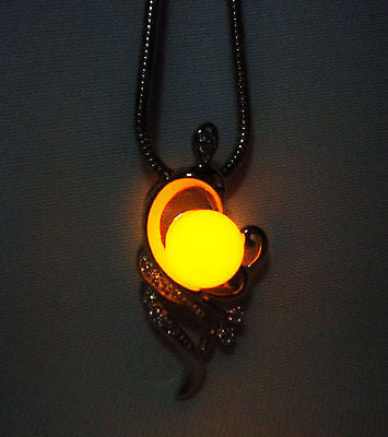 Phoenix Glowing Luminous Necklace - Glow in the Dark Sterling Silver Phoenix - Phoenix Jewelry - Soul Shards
