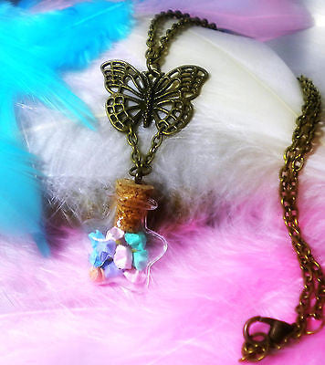 Lucky Origami Stars in a Bottle Necklace - Japanese Themed Jewelry - Lucky Charm - Wishing Stars - Soul Shards