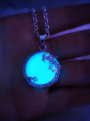 Dragon Moon Glow in the Dark Luminous Necklace Pendant - Lunar Dragon - Wrapped Stone Glowing Dragon - Soul Shards