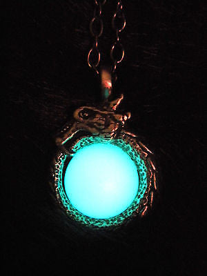 Ouroboros Glow in the Dark Luminous Orb Stone Pendant Necklace - Uroborus - Serpent Snake Pendant - Soul Shards