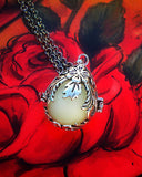 Sterling Silver Flower Vine Glow in the Dark Luminous Locket Pendant Necklace - Glowing Stone Sphere - Soul Shards