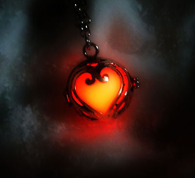 Sterling Silver Lovers Heart Glow in the Dark Luminous Locket Pendant Necklace - Glowing Stone - Soul Shards