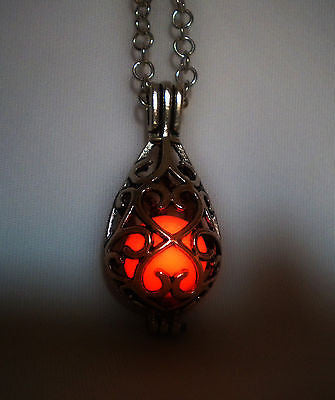 Teardrop Caged Glow in the Dark Luminous Orb Stone Materia - Glowing Heart Cage Necklace Pendant - Soul Shards