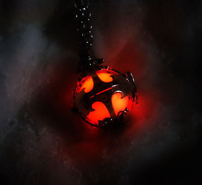 Silver Demon Glow in the Dark Luminous Locket Pendant Necklace - Glowing Stone Orb - Soul Shards