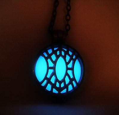 Dwemer Artifact - Glow in the Dark Locket - Glowing Stone - Antique and Vintage Style Locket - Soul Shards