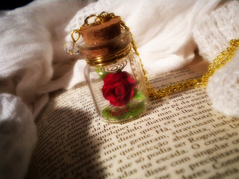 Enchanted Red Rose - Rose in a Bottle Vial Necklace -  Lovely Golden and Red Tones Jewelry Piece - Soul Shards