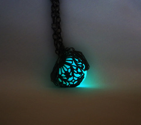 Glowing Filigree Butterfly Necklace - Glow in the Dark Wrapped Butterfly Wings - Luminous Orb - Soul Shards