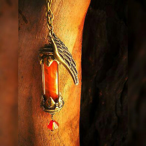 Phoenix Down Vial Necklace - Fantasy Necklace - Phoenix Potion - Phoenix Feathers - Bottle Necklace