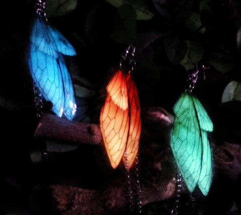 Dragonfly Luminous Earrings - Animal Totem Spirit - Glow in the Dark - Summer Spring Earrings - Butterfly Wings Dangle Earrings
