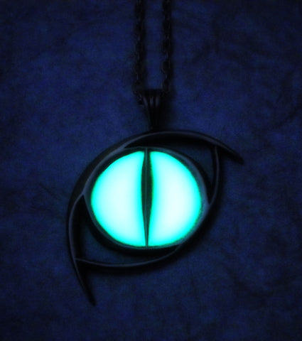Reptilian Cat Eye Glowing Necklace - Snake Serpent Dragon Necklace - Feline - Glow in the Dark Eye - Soul Shards