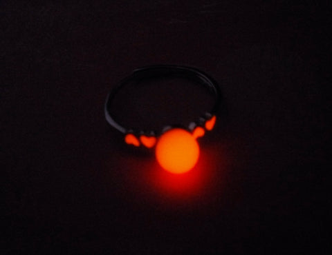 Sterling Silver plated Lovers Heart Ring - Red and Orange Glow in the Dark Orb and Hearts - Women Gift - Soul Shards