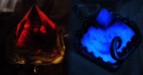Leviathan and Phoenix Glow in the Dark Magical Amulets - Mythic Folklore Monsters - Glowing Water and Fire Pyramids - Soul Shards
