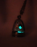 Light Blue Glowing Enchanted Rose in a Domed Cage Necklace - Beauty Rose - Glow in the Dark Necklace - Soul Shards