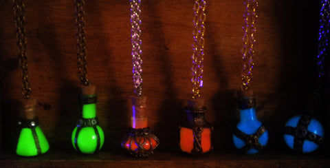 Alchemy Potions - Health Mana Stamina Potions - Glow in the Dark Potion Necklace - Gamer Jewelry - Soul Shards
