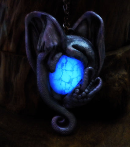 Amulet of Dragon Protection Pendant (Limited Edition) - Symbol of arcane mystical Magic - Dragon and her unhatched magic Egg - Dragon Themed Jewelry - Dragon Veins Agate Natural Stone - Soul Shards