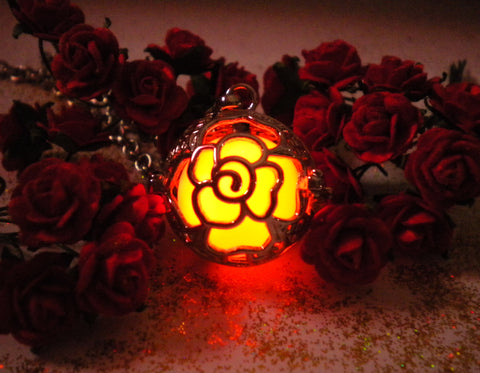Sterling Silver Enchanted Rose Glow in the Dark Luminous Locket Pendant Necklace - Glowing Stone - Soul Shards