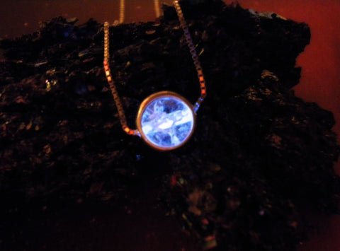 Captured Spirit Energy Orb - Sterling Silver Disc and Chain - Glow in the Dark Sphere Necklace Pendant - Soul Shards  - 1