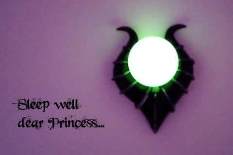Designer's Villain Glowing Necklace - Glow in the dark Staff Orb - Horned Headgear Symbol - Evil Queen Jewelry - Soul Shards