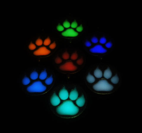 Glowing Wolf Pawprint - Glow in the Dark - Dog Cat Pawprint - Animal Footprint - Pet Necklace - Soul Shards