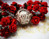 Sterling Silver Enchanted Rose Glow in the Dark Luminous Locket Pendant Necklace - Glowing Stone