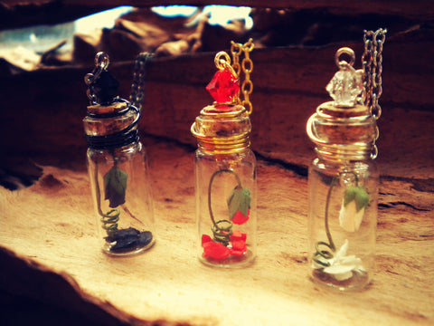 Rose Bud in a Bottle - Enchanted Rose - Rose in a Bottle Vial Necklace - Soul Shards