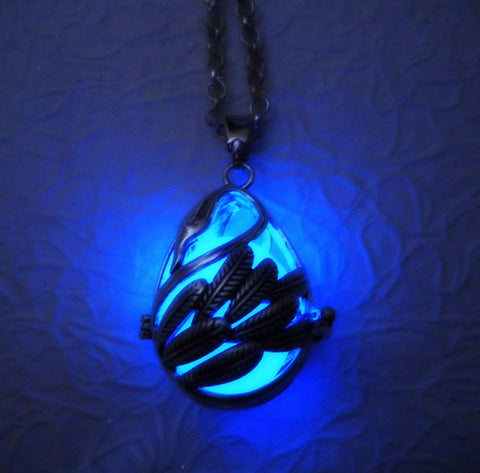 Swan Delicate Glow in the Dark Luminous Locket Pendant Necklace - Glowing Stone Orb Sphere - Materia - Soul Shards