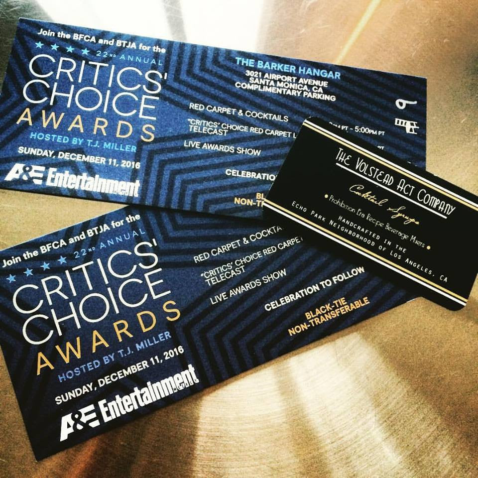 The Volstead Act Company is OFFICIALLY Sponsoring Critics Choice Awards 2016!