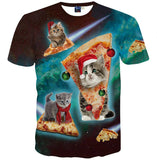 New Fashion Space/Galaxy men brand t-shirt funny print super power cat Jetting water 3D t shirt summer tops tees
