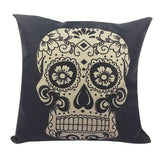 Skull Printed 45x45cm/17.7x17.7'' Linen Cushion For Sofa Decorative Throw Cotton Sofa Decor Couch - Hespirides Gifts - 7