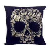 Skull Printed 45x45cm/17.7x17.7'' Linen Cushion For Sofa Decorative Throw Cotton Sofa Decor Couch - Hespirides Gifts - 17
