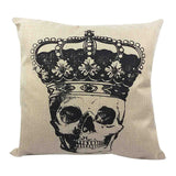 Skull Printed 45x45cm/17.7x17.7'' Linen Cushion For Sofa Decorative Throw Cotton Sofa Decor Couch - Hespirides Gifts - 13
