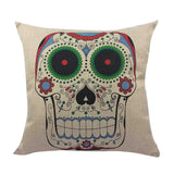 Skull Printed 45x45cm/17.7x17.7'' Linen Cushion For Sofa Decorative Throw Cotton Sofa Decor Couch - Hespirides Gifts - 21
