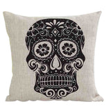 Skull Printed 45x45cm/17.7x17.7'' Linen Cushion For Sofa Decorative Throw Cotton Sofa Decor Couch - Hespirides Gifts - 2