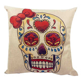 Skull Printed 45x45cm/17.7x17.7'' Linen Cushion For Sofa Decorative Throw Cotton Sofa Decor Couch - Hespirides Gifts - 6