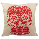 Skull Printed 45x45cm/17.7x17.7'' Linen Cushion For Sofa Decorative Throw Cotton Sofa Decor Couch - Hespirides Gifts - 10