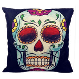 Skull Printed 45x45cm/17.7x17.7'' Linen Cushion For Sofa Decorative Throw Cotton Sofa Decor Couch - Hespirides Gifts - 22