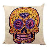 Skull Printed 45x45cm/17.7x17.7'' Linen Cushion For Sofa Decorative Throw Cotton Sofa Decor Couch - Hespirides Gifts - 12